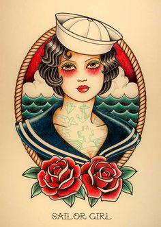 """SAILOR GIRL. Ilustración inspirada en los tatuajes """"Old School"""" de los años 20."""