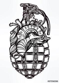 Vector: Hand drawn design of Heart Grenade.