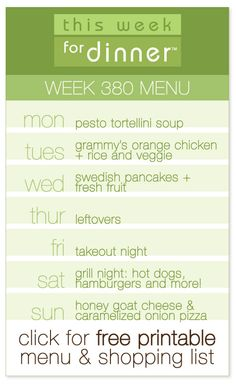 weekly meal plan from @This Week for Dinner including FREE printable menu and shopping list!
