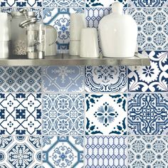 Wall Tile Sticker Kitchen Bathroom Decorative Decal : Patchwork Pmix5 BlueBayu