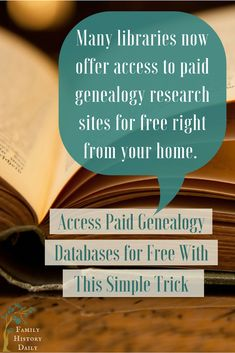 Sites Like Ancestry Are Often Free Through Your Library Genealogy Tips: Access paid genealogy databases without a subscription using this simple trick. Research your family history for free! by imogene Free Genealogy Sites, Genealogy Research, Family Genealogy, Ancestry Free, Genealogy Humor, Genealogy Forms, Family Tree Research, Genealogy Organization, Family History Book