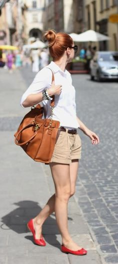 Stick to classic basics when traveling in the Summer time. Khaki shorts, white button  up shirt, comfortable flats, and leather tote bag.