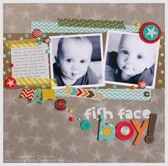Fish Face Boy layout designed by Tamara Tripodi with My Minds Eye 'Boy Crazy'