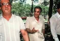 """John Gotti, 1986: The reputed head of the Gambino crime family in New York City, John Gotti (center, 1940-2002) became one of the most visible and well-known crime bosses in the country. Nicknamed the """"Teflon-don"""", Gotti consistently avoided conviction until 1992, when he was sentenced to life in prison for murder."""