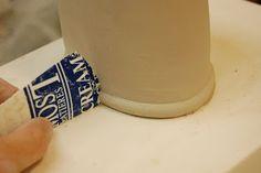 yogurt pot cut to create the bottom edge-good line for glazing! Ceramic Tools, Clay Tools, Ceramic Clay, Ceramic Pottery, Pottery Art, Ceramic Techniques, Pottery Techniques, Pottery Tools, Pottery Wheel