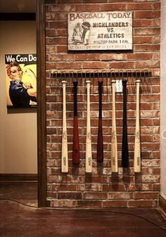 vintage baseball art for boys baseball theme room I like the bat holder! This would not only hold Case's bats, but jackets, hats.