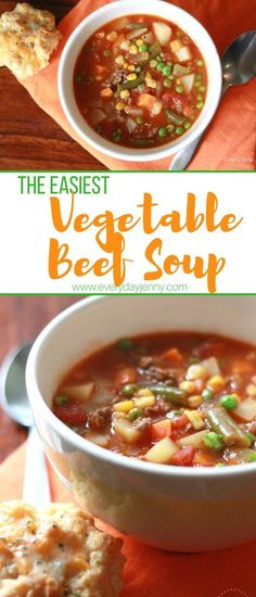 This easy homemade vegetable beef soup is made with hamburger. Quick to make wit… This easy homemade vegetable beef soup Crockpot Vegetable Beef Soup, Homemade Vegetable Beef Soup, Veggie Soup Recipes, Vegetable Soup Healthy, Easy Soup Recipes, Homemade Soup, Herb Recipes, Healthy Soups, Crockpot Meals