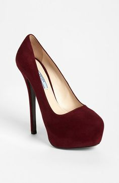 """Sexy 5"""" suede pump!! Perfect in every way!!! Luv!!!<3<3<3  Prada Platform Pump 
