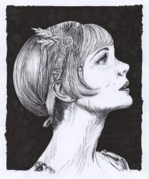Fine liner and marker drawing of Carey Mulligan as Daisy Buchanan in The Great Gatsby
