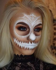 White skull halloween makeup                                                                                                                                                                                 More