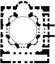 Little Hagia Sophia: Plan.  The central area is similar to San Vitale in Ravenna. There are however only four exedrae as opposed to San Vitale's eight.