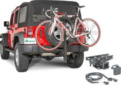 "The Quadratec Folding Receiver Hitch 2 Bike Rack is designed to clear the rear spare tire without the need of a hitch extension and work with any 2"" receiver. The handy tilt back feature allows the tailgate and liftgate to open for easy access to your cargo area without having to remove the rack."