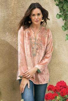 Moroccan Velvet Tunic - Velvet Tunic, Velvet Tunic Top | Soft Surroundings