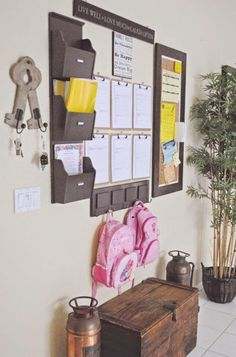 By creating a DIY Family command center, you will be able to keep it under control a little bit better. Family command centers are totally customizable to your needs. Back To School Organization, Organization Station, Entryway Organization, Organized Entryway, Household Organization, Command Center Kitchen, Family Command Center, Command Centers, Boston Interiors