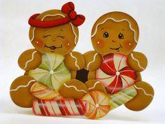 Peppermint Kids, Item #DPH139, Gingerbread Fridge Magnet and/or Shelf Sitter, ByBrendasHand, Gingerbread Kitchen, Gingerbread Decor by ByBrendasHand on Etsy