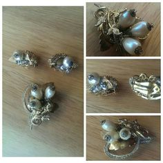 Check out this item in my Etsy shop https://www.etsy.com/listing/251887672/pearl-golden-cluster-brooch-matching
