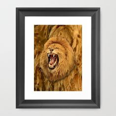 Lion Roar FRAMED ART PRINT $39.00  #Leopard #albinoleopard #tiger #lion #hyenas #hyaenas #cat #animals #jaguar #Framedprint