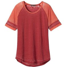 Prana Women's Cleo Tee ($50) ❤ liked on Polyvore featuring tops, t-shirts, sunwashed red, red t shirt, red top, baseball tee shirts, baseball style t shirts and color block tee