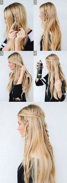 Hippie Braids - Barefoot Blonde 〰love brayding my hair Messy Braided Hairstyles, Braided Hairstyles Tutorials, Pretty Hairstyles, Hairstyle Ideas, Bohemian Hairstyles, Braided Updo, Wedding Hairstyles, Quick Hairstyles, Everyday Hairstyles