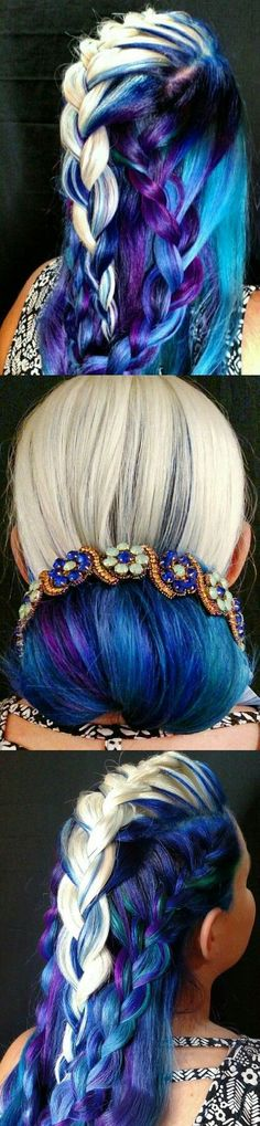 FANCY SALE:  Blonde deep blue dyed hair @mvtoribriggs  (Click on photo to see more ...)