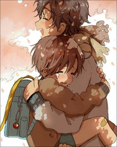I'm sorry but I find this so sweet.  I mean you have poor little child Romano crying while holding onto Spain as he carries him.  Not to mention Spain's trying to cheer him up also!  Hetalia