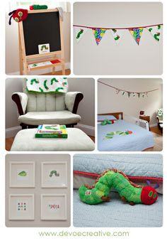 very hungry caterpillar .look at the four printed pictures together. Cute.