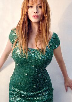 {Christina Hendricks green dress}