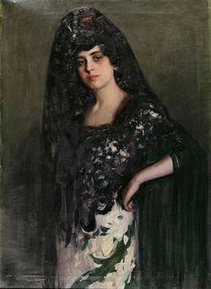 Mujer con mantilla, óleo sobre lienzo de Ramon Casas I Carbó (1866-1932, Spain)