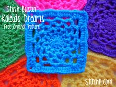 Kaleido-Dreams Free Crochet Square Pattern -- Like this in primary and secondary colors to go with parrot print quilt and curtains.