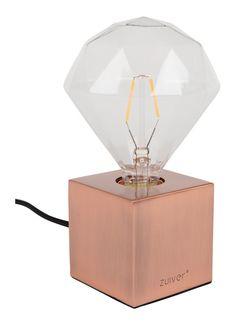 Zuiver Bolch tafellamp koper + diamond LED lamp 2 stuks