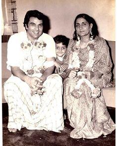 Dharmendra with Wife Prakash Kaur and Son Bobby Deol
