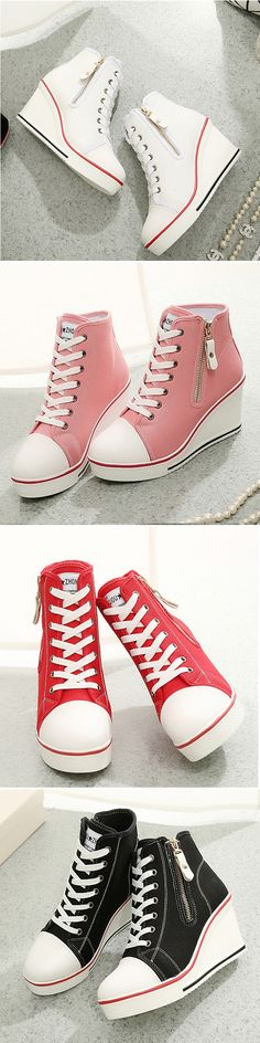 US$29.16 Big Size Canvas Korean Style High Top Lace Up Zipper Wedge Heel Casual Shoes