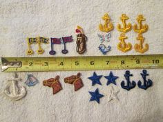 1970's Vintage Embroidered Sew On Patch Lot Boat Anchor Horse Star Golf #Unbranded