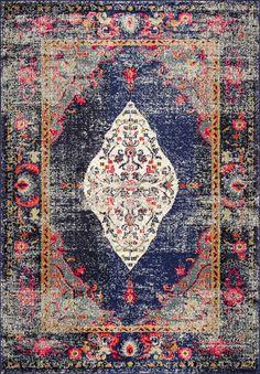 chromacb26 iris fading oriental medallion rug - Transitional Castle Decorating
