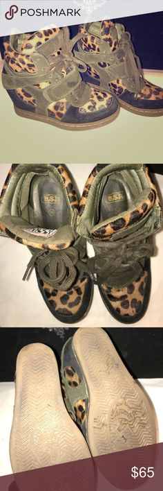 """Ash leopard wedge sneakers Suede, leather high top sneaker with pony hair leopard print. Lace up sneaker with one Velcro horizontal strap, rubber soles with approx 3"""" wedge. Worn just a few times in great condition! Ash Shoes Sneakers"""