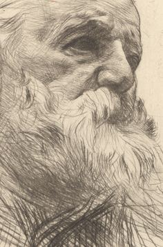 Auguste Rodin ~ Victor Hugo, Three-Quarters View (detail), 1885 (drypoint)