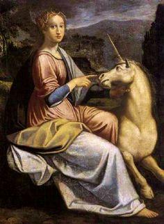 "1605, ""Woman with a Unicorn"" - Barbara Longhi  [Italian High Renaissance Painter, 1552-1638]. Mannerism (Late Renaissance); Genre: mythological painting."