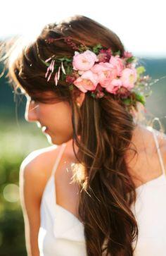 Brides half up side part long curls flower crown wedding hair ideas Toni…