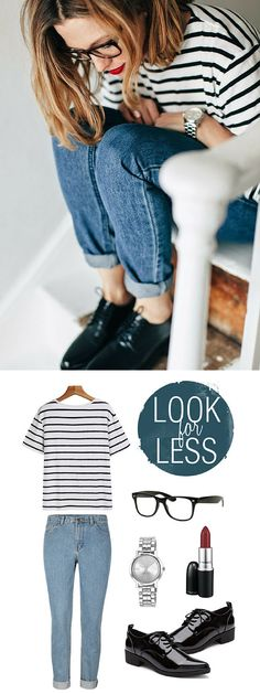 get this popular tomboy chic outfit for $130, and add a blazer to it to make it work chic. jeans, glasses, striped shirt, shoes, watch and even lipstick included. #style #save #shop