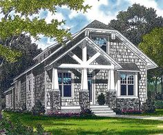 Plan W17685LV: Craftsman, Shingle Style, Cottage, Narrow Lot House Plans & Home Designs