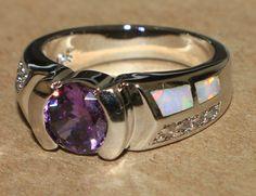 white fire opal Amethyst Cz ring Gemstone silver jewelry Sz 7.75 chic modern N2G