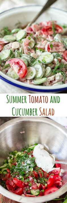 This tomato and cucumber salad with fresh dill, spring onions and dressed with sour cream is as delicious as it is simple.