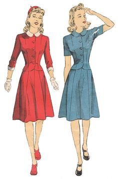Sewing Pattern 1940s Vintage - DuBarry 5411 - Size 12 - Bust 30 - Unprinted Pattern - Misses' And Women's Two-Piece Dress Or Separate Skirt
