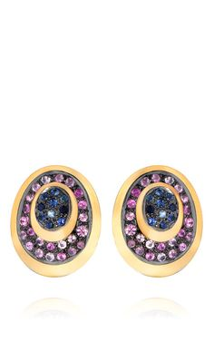 Shop One-Of-A-Kind Multi-Colored Sapphires & Gold Peacock Stud Earrings by Madhuri Parson for Preorder on Moda Operandi
