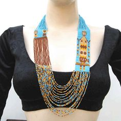 Native American Style Seed Beaded Yei Dancer Necklace
