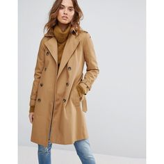 Warehouse Trench Coat (147 AUD) ❤ liked on Polyvore featuring outerwear, coats, cream, warehouse coats, cream trench coat, trench coat, tall coats and cream coat