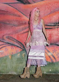 lilac ivory pink & cream satin and crochet apron slip dress by mermaid miss k