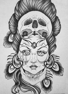 Madam with skull by ~LazzzyV on deviantART