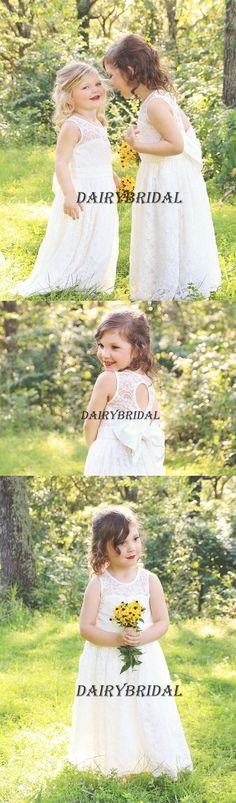 Lace Sleeveless Flower Girl Dresses with Bowknot, Lovely Little Girl Dresses, DA946 #dairybridal