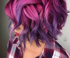 34 gorgeous ombre purple to pink hair color ideas for short haircuts Frisuren Vivid Hair Color, Hair Color Pink, Purple Hair, Hair Colors, Pink Purple, Short Hair Cuts, Short Hair Styles, Edgy Hair, Mermaid Hair